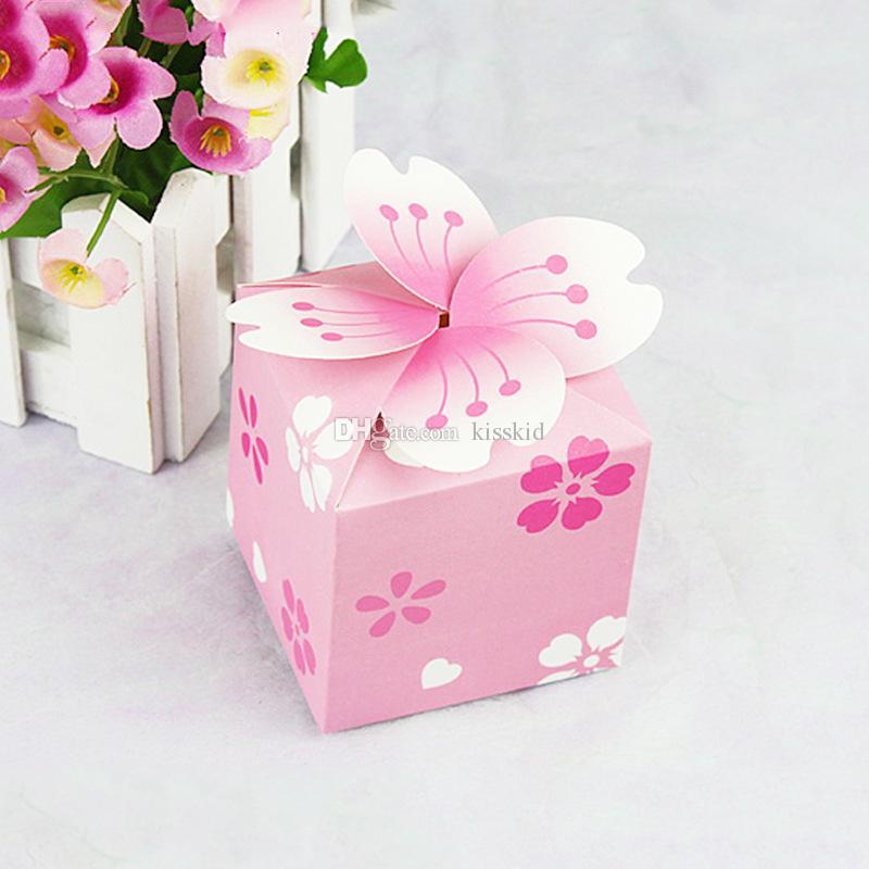 100 unids rosa púrpura flores pétalo moda Wedding Party Favor caramelo caja de regalo