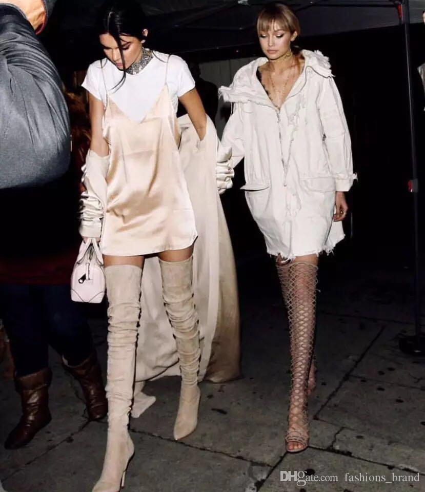 Sexy über das Knie Oberschenkel hohe Stiefel Mode über das Knie botas slim fit elastischen Wildleder spitzen hohen Absatz Stiefel extra lange Stiefel