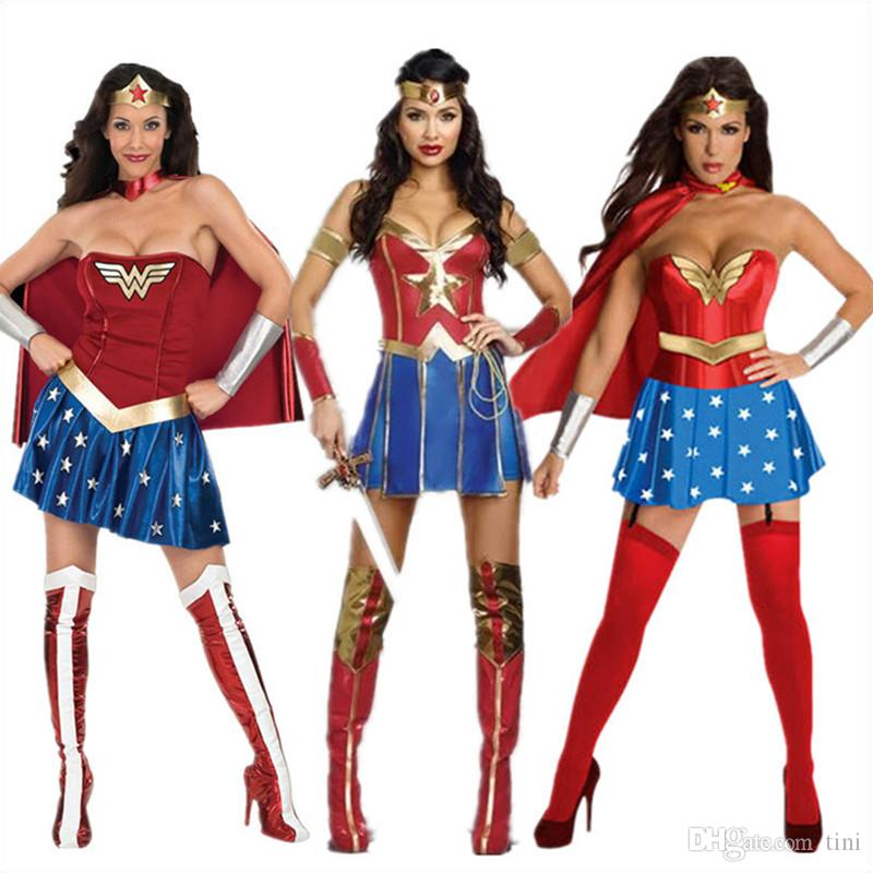 9093fc72a50f Super Women Wonder Woman Costume Fancy Dress Halloween Cosplay Costume  Dresses Tops Cosplay Costumes Philippines Easy Anime Costumes From Tini, ...