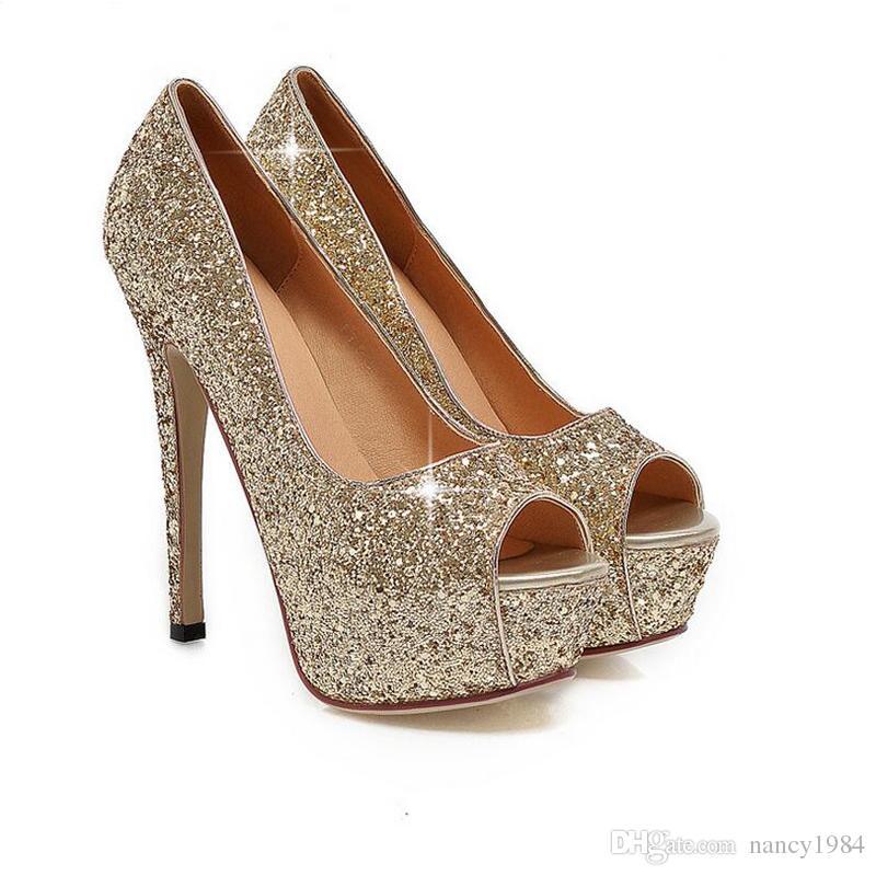 Envío gratis Lady Gorgeous Nightclub Zapatos de noche Super High Heels Peep Toe Sandals Zapatos de vestir de mujer Gold Wedding Bridal Dress Shoes