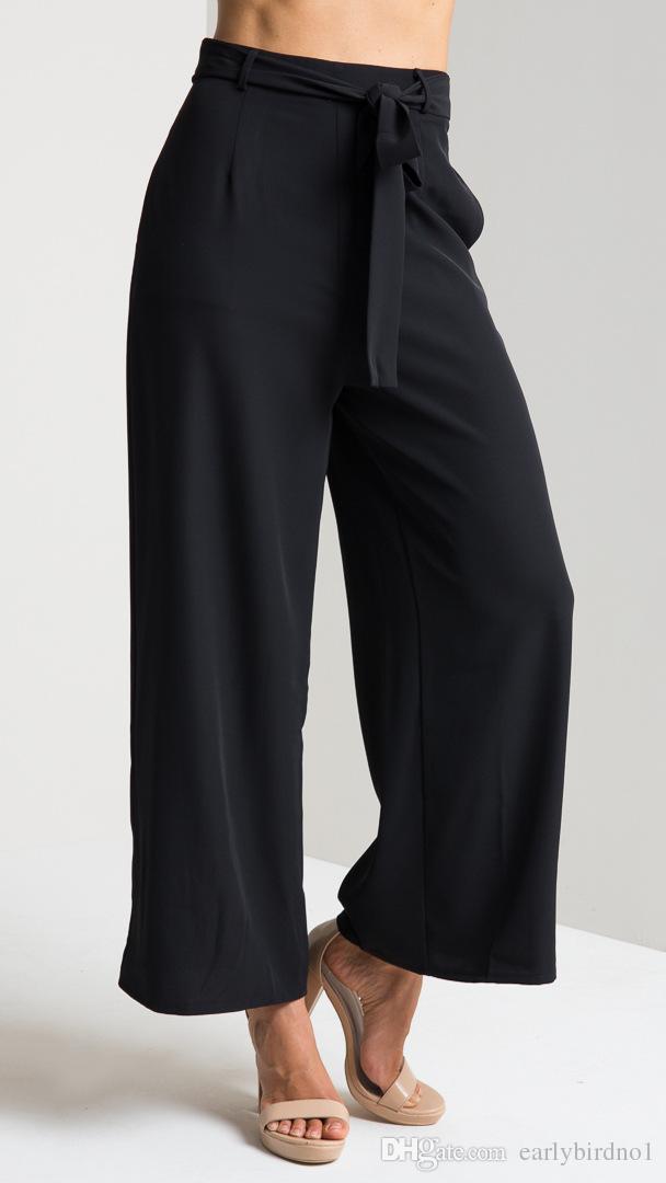 2018 New Günstige Frauen Sommer Schwarz Braun Chiffon Hosen Frauen Kleidung Mode Lässig Breite Beinhosen Frühling Herbst Hosen Hosen FS3006