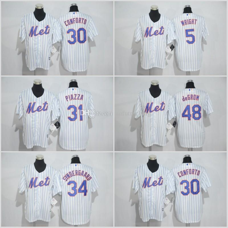 aaec53aaa ... 2017 Youth Kids New York Mets Baseball Jersey 5 David Wright 31 Mike  Piazza 30 Michael .
