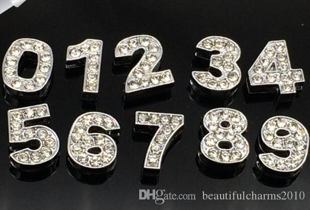 Atacado 10mm 100 pçs / lote 0 - 9 strass completo Slide Número Encantos DIY Acessórios fit para 10mm pet collar chaveiros