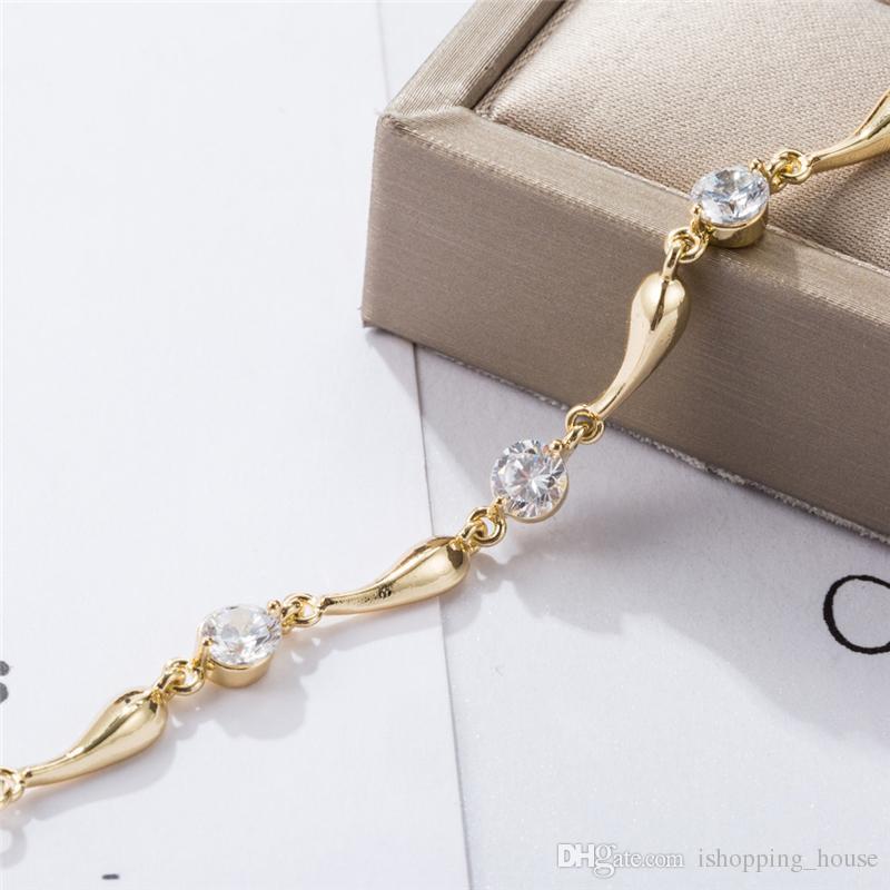 Le donne Catena Anklet Estate Jewelry braccialetto del piede le ragazze delle donne 18K placcato oro reale CZ Waterdrop sandali a piedi nudi JL0004 Catena
