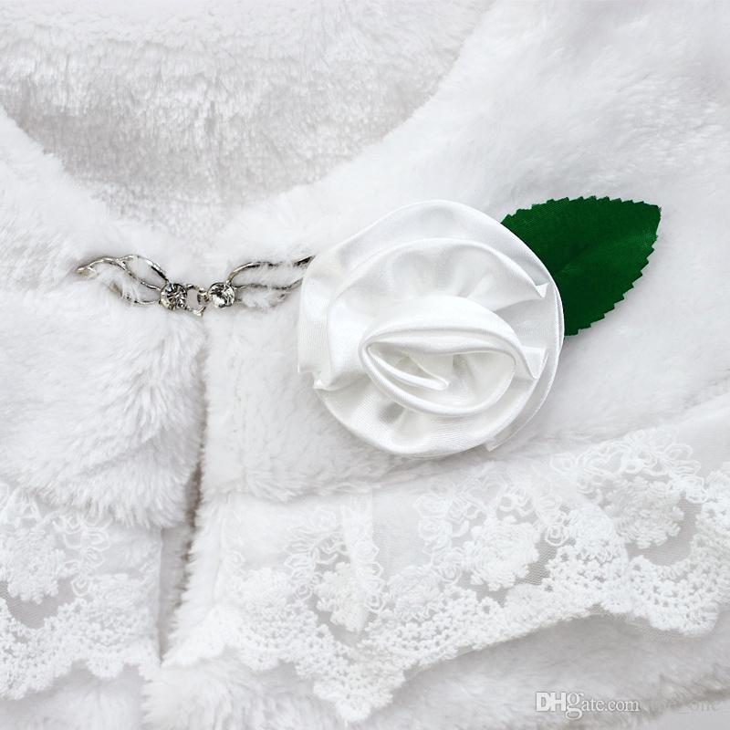 Rosettes with White Soft Fur Stole Shawl Shrug Wrap Cape Wedding Flower Girl Shawl Coat