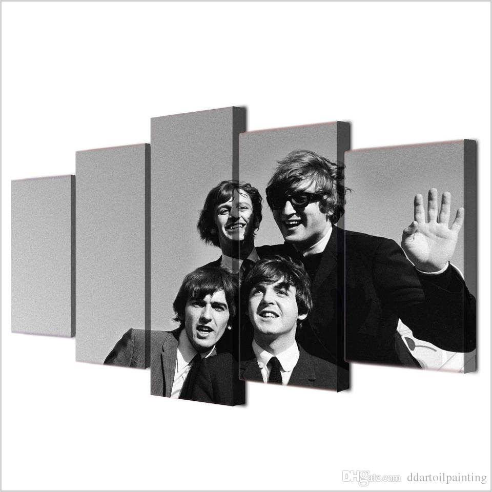 "60""x32"" Large Canvas Giclee Print Painting the Beatles Group Rock Band Picture Art, Modern Home Decorations Wall Art, No Frame"