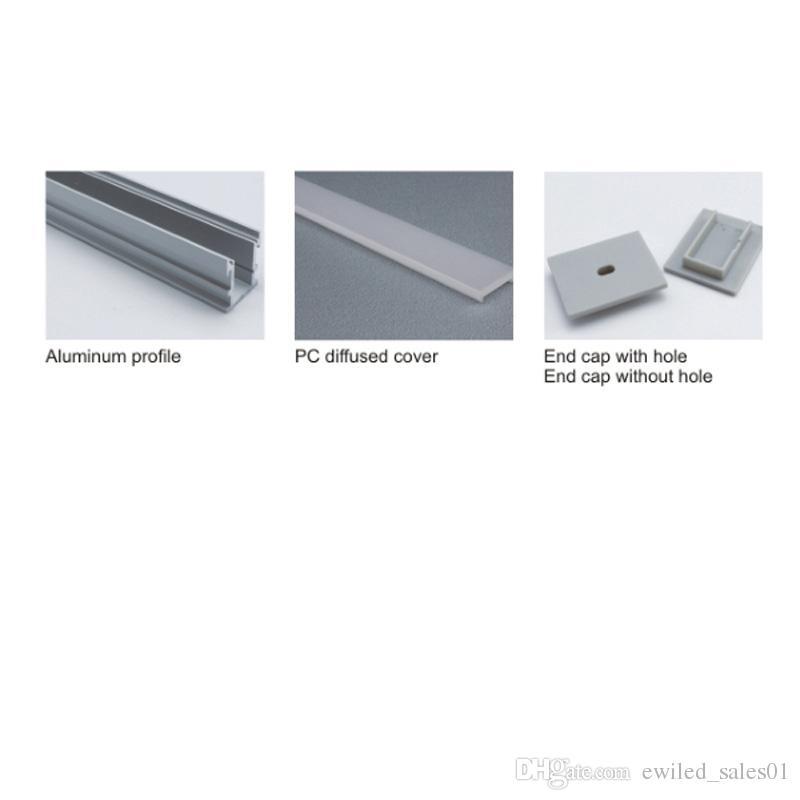 10 X 1M conjuntos / lote Al6063 T6 de alumínio anodizado e levou perfil de prata tira conduzida canal para solo ou recesso iluminação andar