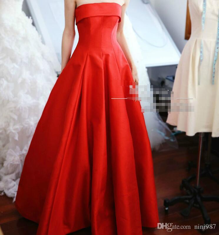 Real Image Robe de soiree Good quality Hot red Silk Satin Strapless Evening dresses 2017 Formal Evening Dresses Burgundy color Evening Gowns