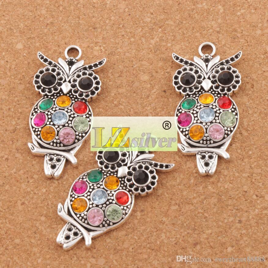 Kleurrijke Crystal Owl Animal Charms 20 stks / partij Hot Antieke Zilveren Hangers 22x47mm L1598 Sieraden Bevindingen Componenten LZSILVER