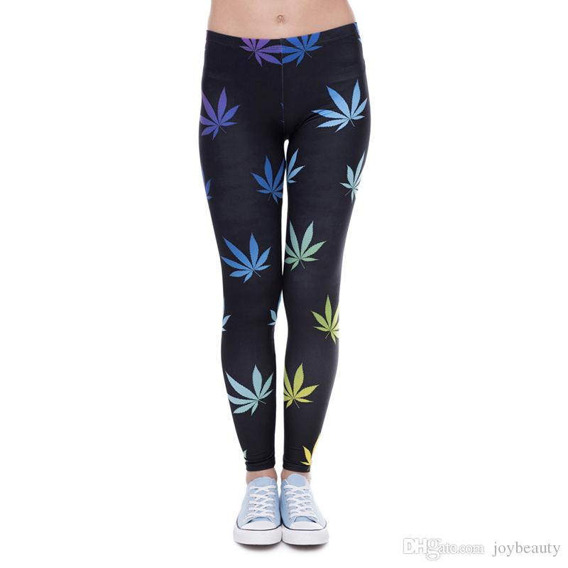 345a912919d62 2019 Girl Leggings Lucky Leaf 3D Graphic Print Women Skinny Stretchy Gym  Fitness Black Pants Yoga Spring Summer Autumn Soft Trousers Hot J41593 From  ...