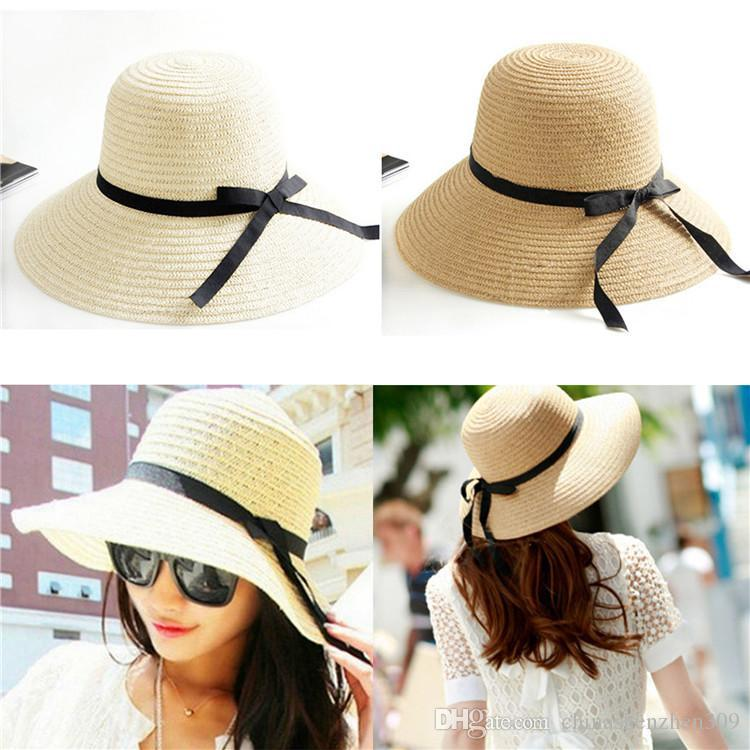 Summer Hats For Women Part - 43: 2017 New Fashion Sun Hat Womenu0027S Summer Foldable Straw Hats For Women Beach  Headwear Top Quality Wholesale Beach Hats Sun Hats For Women From ...