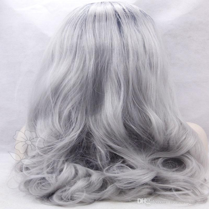 Gray Synthetic lace front wig glueless body wave ombre grey color heat resustant synthetic lace front wig for bglack women