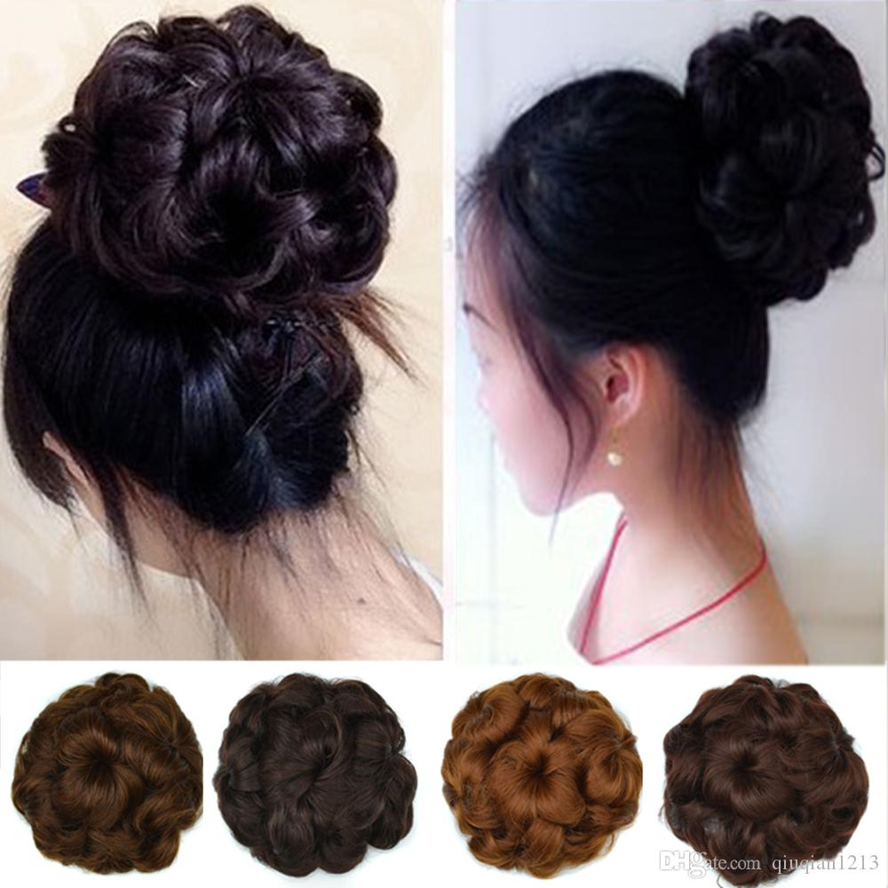 Ladies Heat Resistant Synthetic Curly Hair Bun Roller Updo Clip In