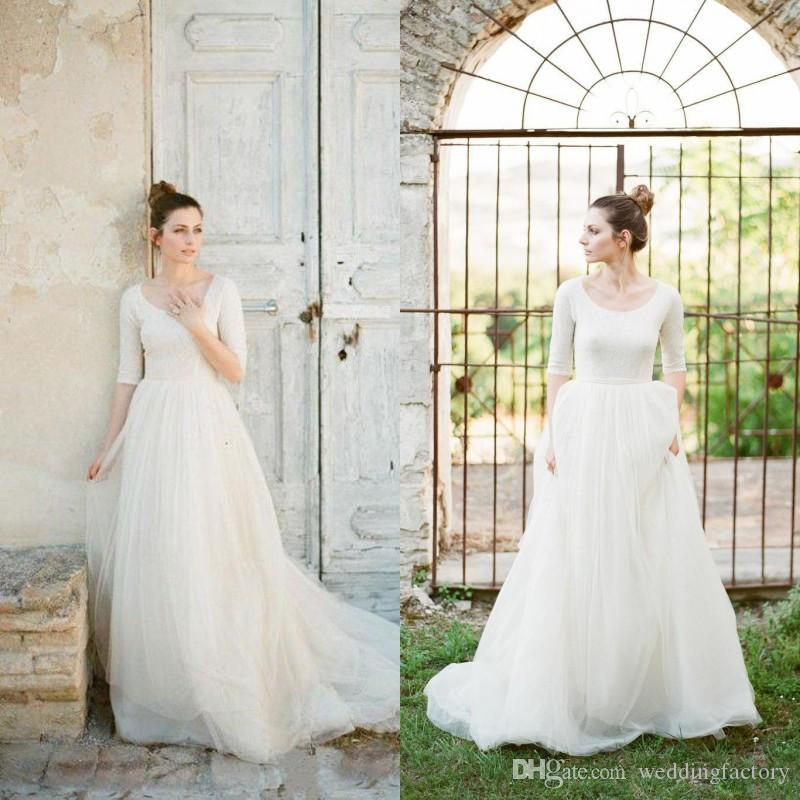 Discount Modest Wedding Dress With Sleeves A Line Country Style - Wedding Dress Shirt