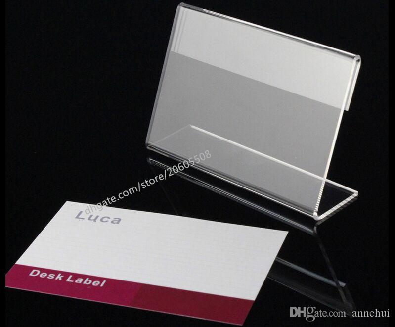 8*5cm Acrylic Table Sign Price Tag Label Display Paper Promotion Card Holders L-type Stand desk label display holder