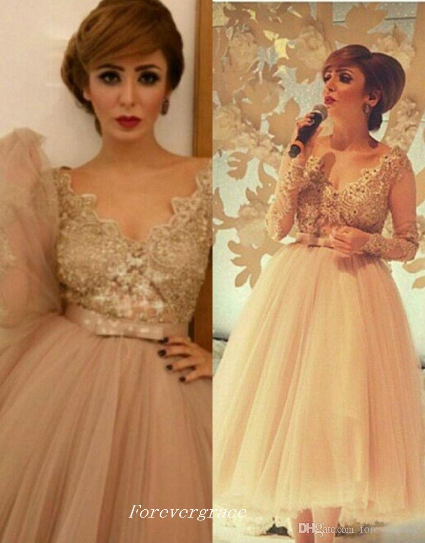 Sexy V Neck Prom Dress With Long Sleeves Champagne Tulle Lace Women Wear Special Occasion Party Dress Custom Made Plus Size