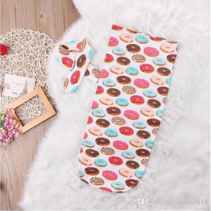Ins Neugeborenen Baby Swaddle Schlafsäcke Baby Jungen Mädchen Musselin Decke + Stirnband Neugeborenes Baby Weiche Baumwolle Cocoon Schlaf Sack Zweiteiler