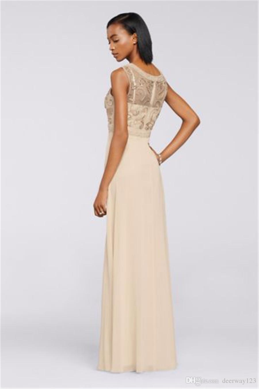 Chiffon lungo abito da sera con vestito da sera in rilievo a mano illusione Corpetto 182944DB festa di nozze da Cerimonia