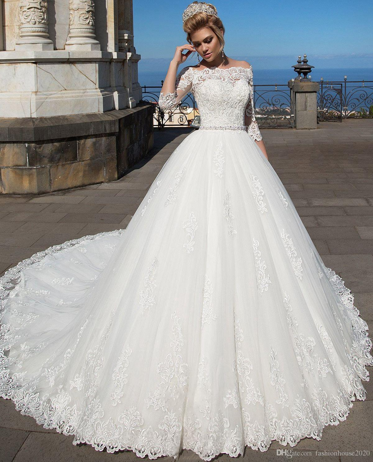 2018 Cheap Elegant White Lace Ball Gown Wedding Dresses With Sleeves ...