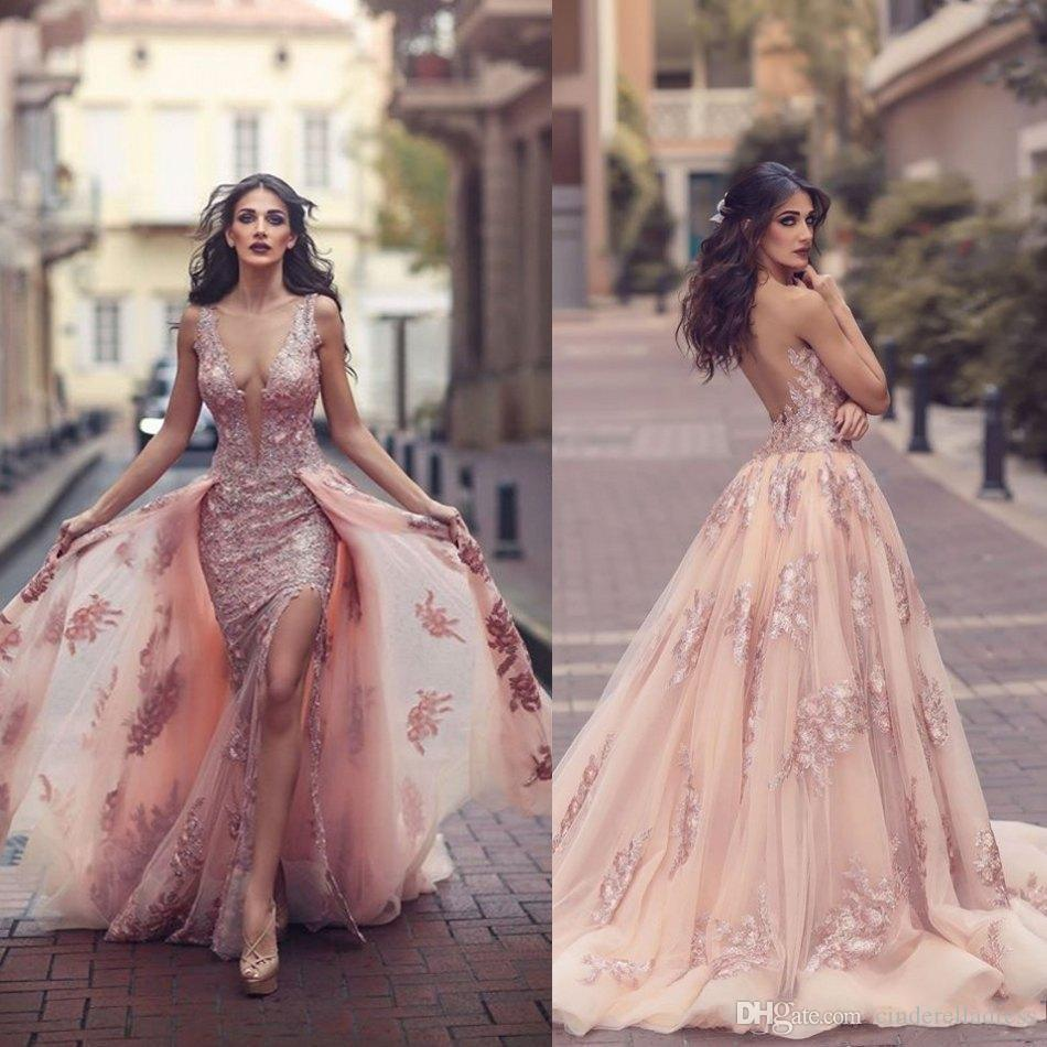 Saudi Arabic Over skirt Mermaid Evening Dresses 2017 Top Quality Sheer Backless V Neck Appliques with Capes Long Prom Party Split Gowns