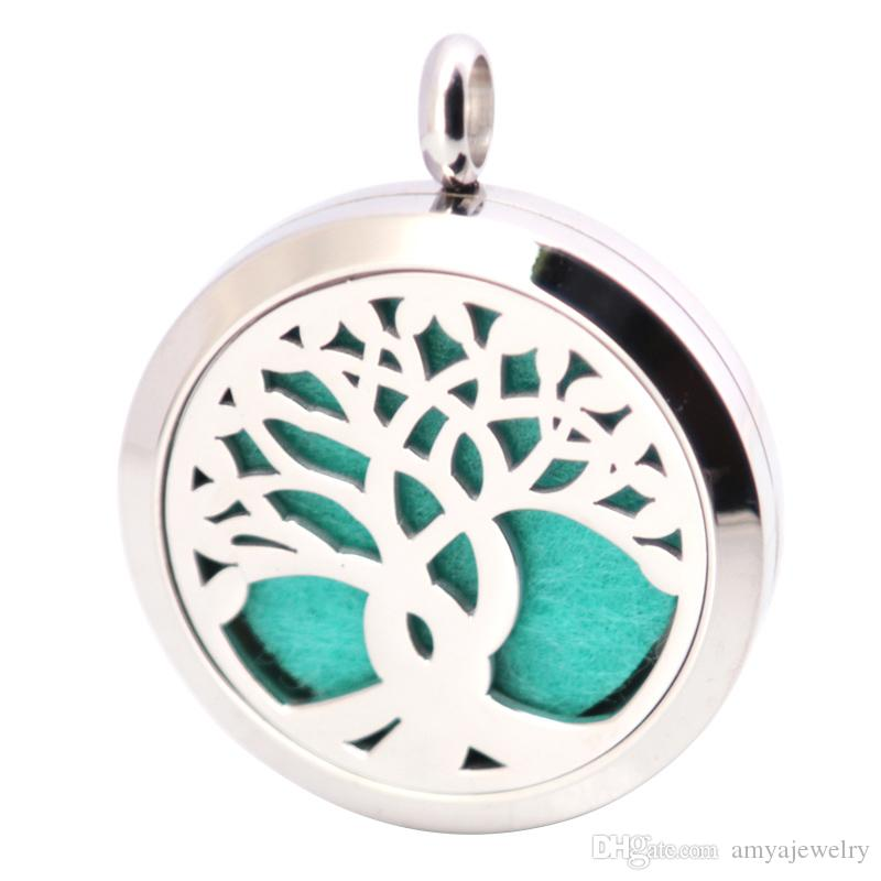 30mm Aromatherapy Essential Oil surgical Stainless Steel Necklace Pendant Perfume Diffuser Family Tree Locket with Chain Pads