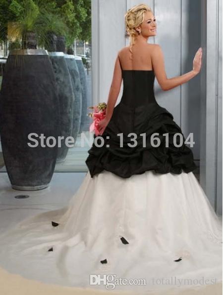 Abiti da sposa gotica in bianco e nero Abiti da sposa senza spalline Taffetà Vintage Semplici Abiti da sposa colorati Couture Custom Made Robe de Mariee