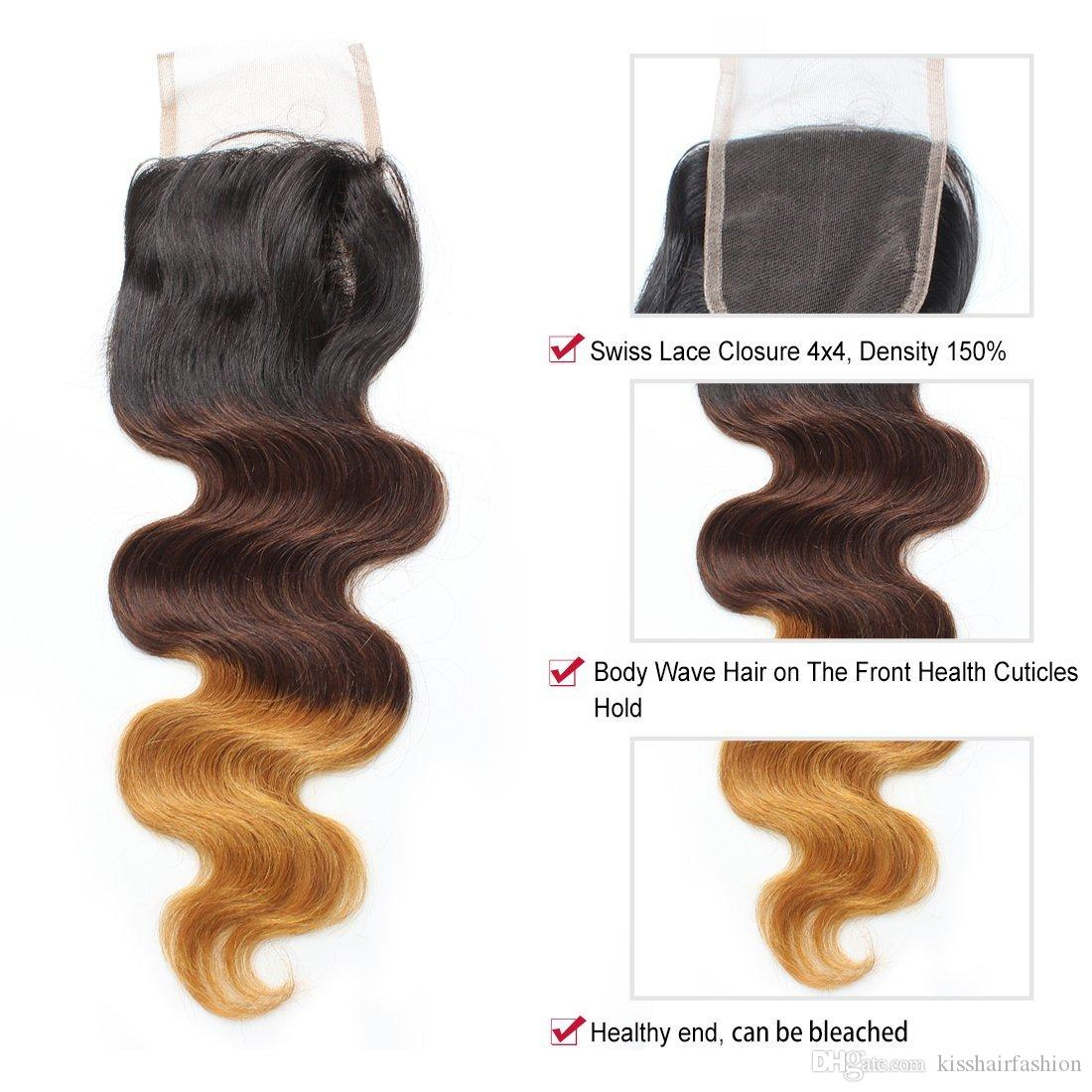 Three Tone Ombre Human Hair 4x4 Lace Closure T1b/4/27 Body Wave Brazilian Virgin Remy Hair Extensions