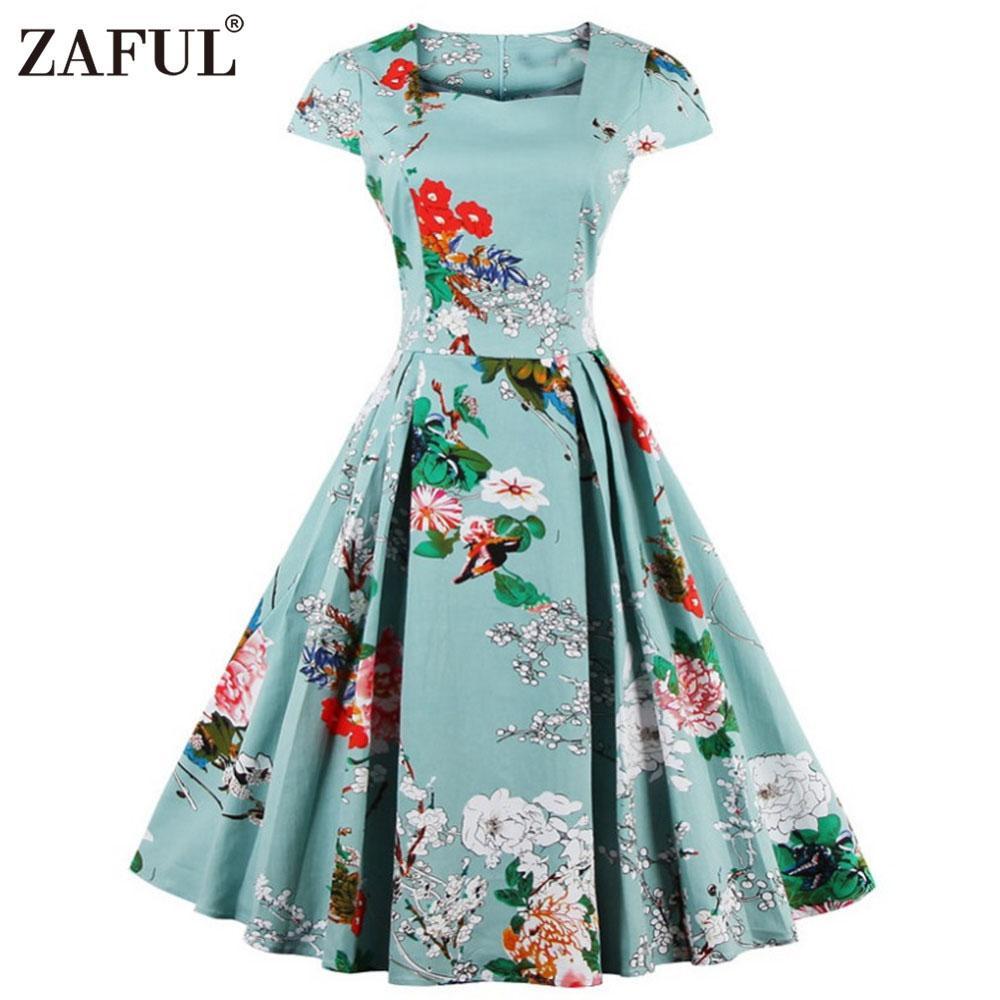 fdf91b1e7 Al por mayor-ZAFUL mujeres más el tamaño de la ropa Audrey hepburn 50s  Vintage Flower Print bata feminino vestido de fiesta del partido del  vestido ...