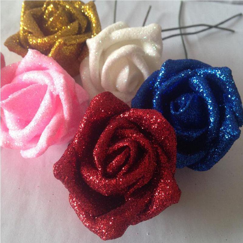 Flor de Navidad Hortensia de seda Real Touch Flowers Decoraciones de boda Rose Artificial Glitter Foam PE Flores artificiales Rose Head Party