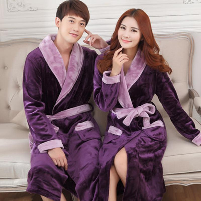 fe41cb5178cf 2019 Wholesale Autumn Winter Women RobeThickening Coral Fleece Sleepwear  Couples Nightgown Ultra Long Plus Size Flannel Robe Men Bathrobe From  Caeley