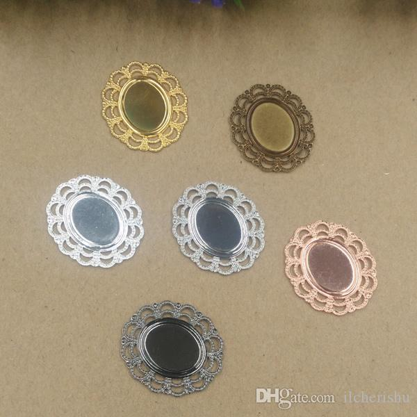08056 24*27mm Mix antique bronze/silver/rose gold/gun black filigree flower charms for jewelry making, vintage metal bracelet pendants blank
