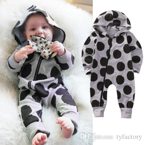c6ca1878c46 2017 Newborn Toddler Fashion Infant Baby Clothing Boys Girls Dot Romper  Hooded Jumpsuit Bodysuit Hat Clothes Outfit UK 2019 From Tyfactory