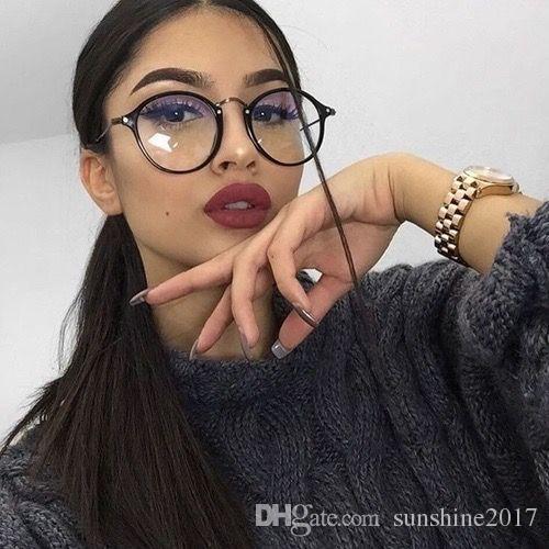 Gözlük yuvarlak gözlük gözlük Gözlük kadınlar şeffaf çerçeve 2017 retro speactacles Optik Çerçeveleri şeffaf lens gözlük