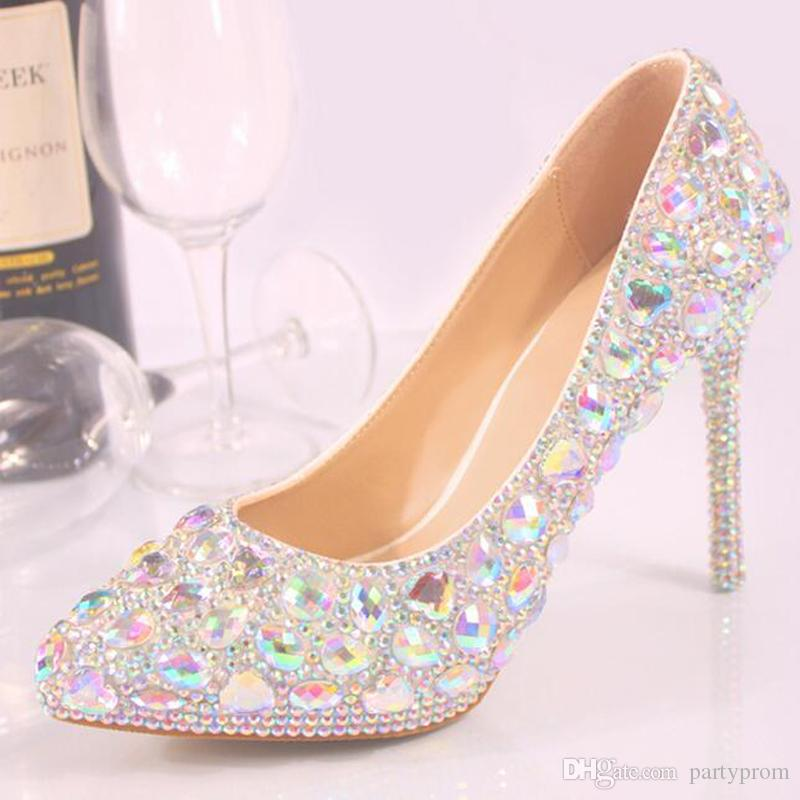 High Quality Crystal Shoes Pointed Toe Wedding Party Bride Shoes Women High  Heel Shoes Plus Size Banquet Cinderella Prom Pumps Wedding Shoes For  Children ... 7eb3f7ecb954