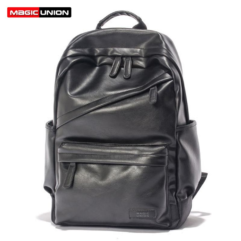 Wholesale- MAGIC UNION Men Patent Leather Backpack Men s Travel Bags   Men s  Leather Backpack Western College Style Backpacks School Bags Backpack ... f3af7f053122d