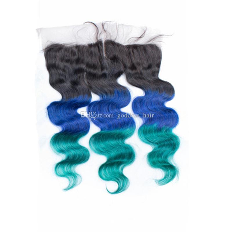 Oreja a oreja Frontal completo del cordón con el pelo de la Virgen de la onda del cuerpo teje paquetes del pelo verde azul de Ombre 1B con el cierre frontal del cordón