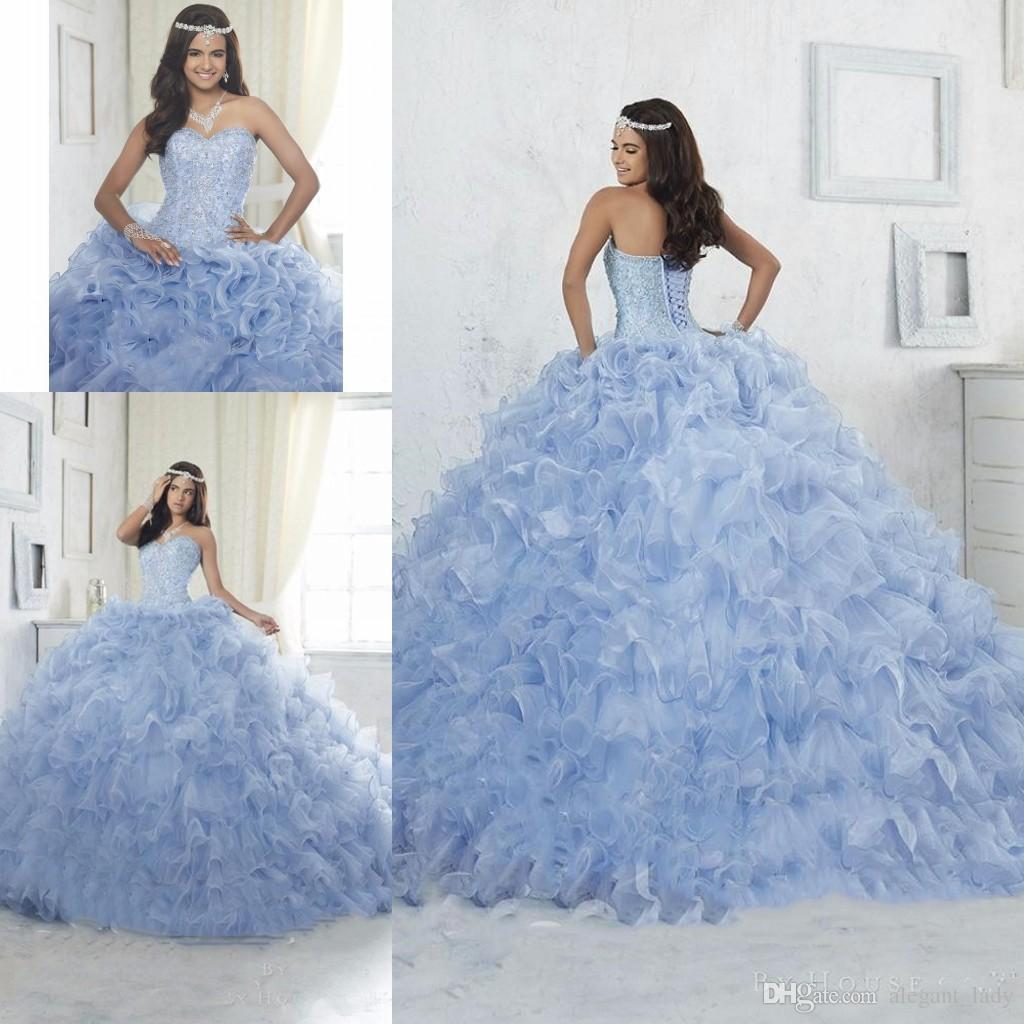 0a1bc97a4 Compre Bling Bling Vestido De Bola Azul Vestido De Quinceañera 2017  Volantes Con Cuentas De Organza Vestido De Fiesta Debutante Vestidos De  Baile Barato ...