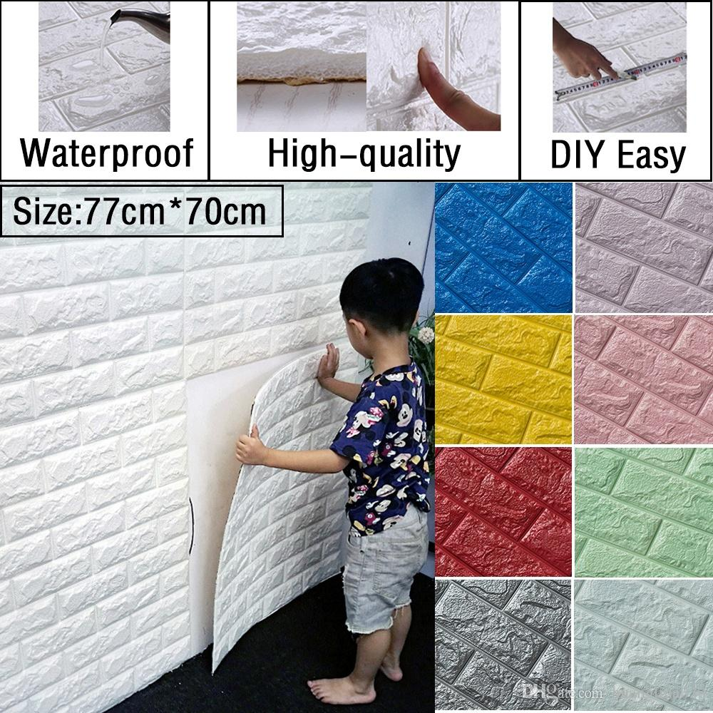 Wholesale Diy 77cm*70cm 3d Brick Pattern Self Adhesive Wall Sticker Panel  Waterproof Soft Foam Wallpaper Tv Background Decoration Decor Designs Wall  Decals ...