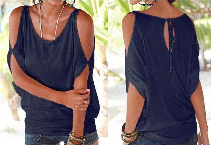 11 cores Mulheres Nua Ombro T-shirt Tops Blusa Solta Batwing Tee Abrir Ombro Frio Topo M073