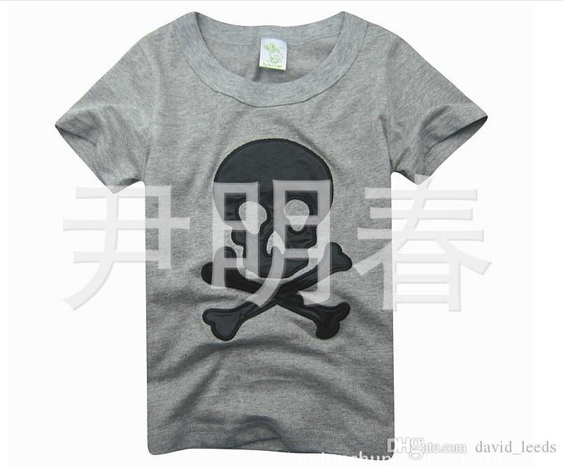 2017 Nuevas llegadas Verano Niños Niñas Cráneo Camiseta bordada Niños Algodón Camisetas de manga corta Niños Tops casuales Camisetas GreyWhite 90-120