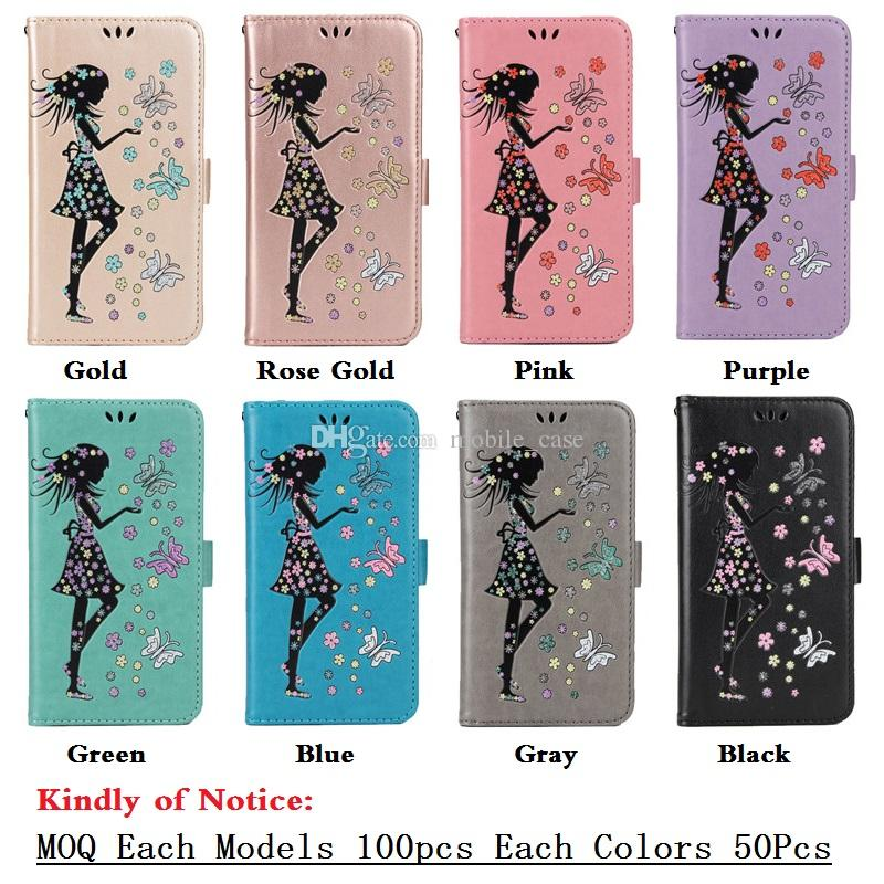 2017 Bling Bling Girl Butterfly Wallet Card Slot Holder PU Leather Phone Case For Iphone 7 7plus 6s 6 plus 5S Samsung S8 plus S8 S7 Edge S7