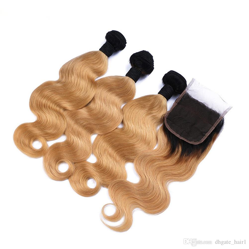 İki Ton 1B / 27 Bal Sarışın Ombre İnsan Saç Kapatma Siyah ve Çilek Sarışın Ombre Vücut Dalga 4x4 Dantel Kapatma Ile 3 demetleri