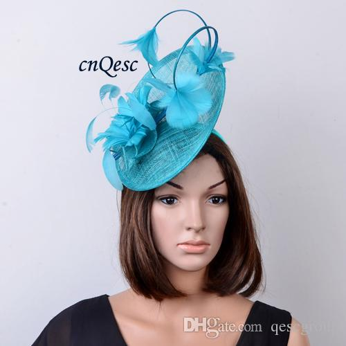fc644451abedb Colour Turquoise Blue Big Arrival. Feather Fascinator Sinamay Hat For  Melbourne Cup