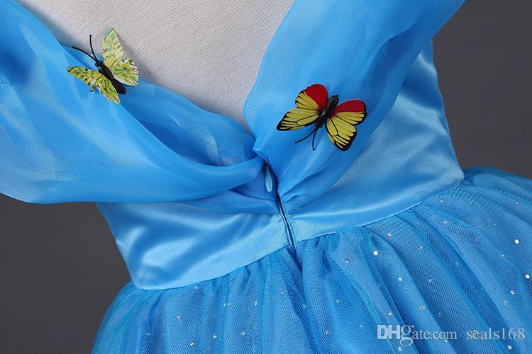 Mädchen Cinderella Prinzessin Kleider Kinder Film Party Ballkleid Kleid Schmetterling Verschleiß Spitze Cosplay Halloween Weihnachten Kleidung PX-A05
