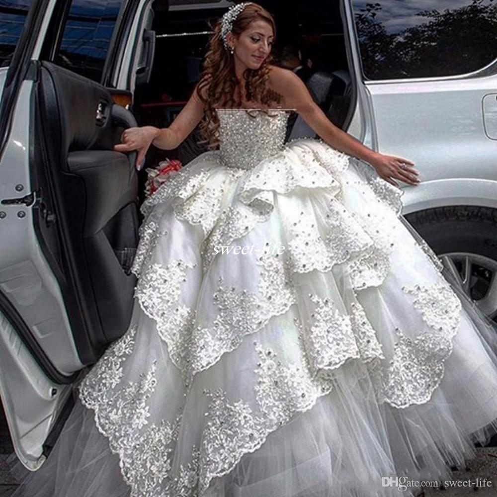 Luxury Puffy Ball Gown Wedding Dresses Heavy Beading Lace