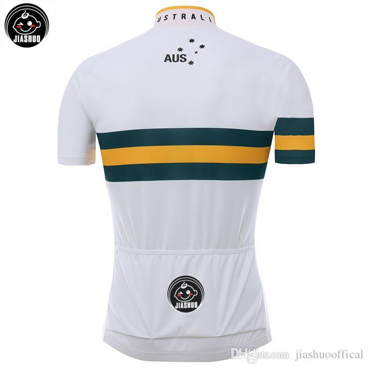 جديد مخصص 2017 أستراليا mtb الطريق سباق فريق الدراجة برو الدراجات جيرسي مجموعات مريلة السراويل الملابس تنفس jiashuo روبا