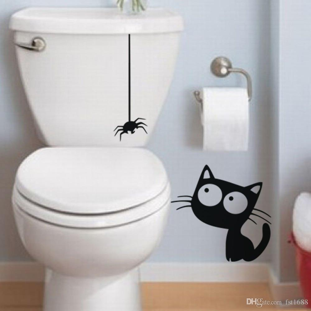 D893 funny black hanging spider and cat bathroom toilet stickers d893 funny black hanging spider and cat bathroom toilet stickers diy vinyl waterproof wall sticker for tile wallpaper mural decal art for walls decal decor amipublicfo Images