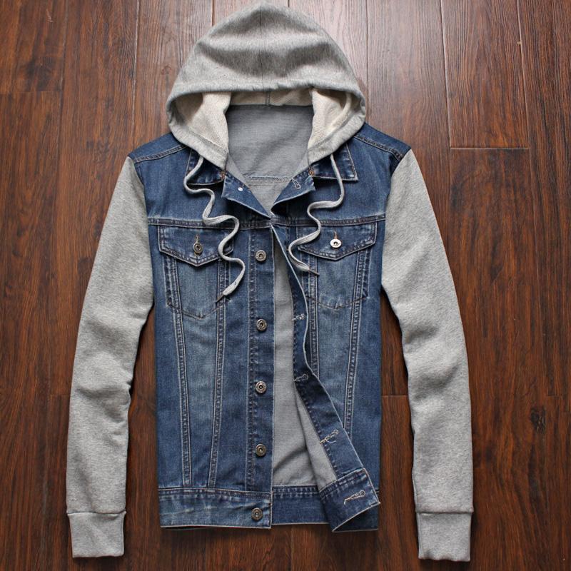Wholesale Denim Jacket Men Hooded Sportswear Outdoors Casual Fashion
