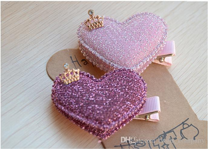 Baby Girls Hair Accessories Sequin Heart Bear Shiny Fabrics And Crown Hair Clip Kids Children Hairpin