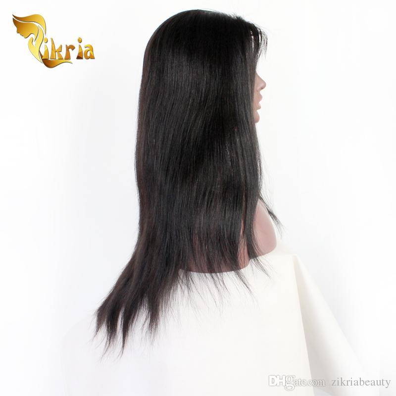 Non Transformés Brésilien Vierge Cheveux Raides Perruques Avant de Lacet Sans Glisse Indien Indien Péruvienne Cheveux Humains Full Lace Perruques Pas Cher Prix Perruques